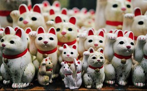Picture cats, background, figurines
