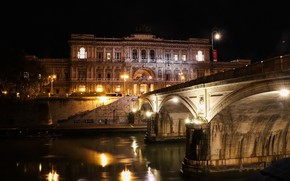 Picture night, bridge, Rome, Italy, The Vatican