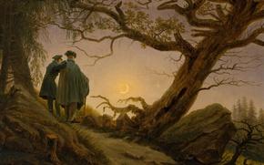 Picture landscape, tree, picture, Caspar David Friedrich, Two Men Contemplating The Moon