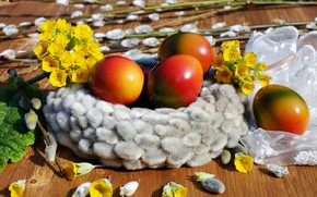 Picture flowers, eggs, Easter, Holiday