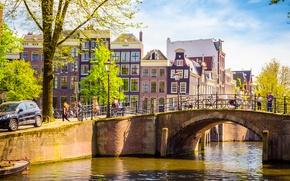 Wallpaper bridge, river, spring, Amsterdam, bridge, Amsterdam, old, spring, buildings, Netherlands, canal