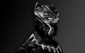 Picture Marvel, digital art, suit, Black Panther, helm, T`Challa