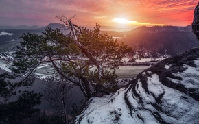 Picture sunset, river, tree, mountain