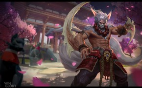 Wallpaper spring, Sakura, Skil, fantasy, Illustrator, warrior, art, Vainglory: Taka T3, Mushk Rizvi, the game