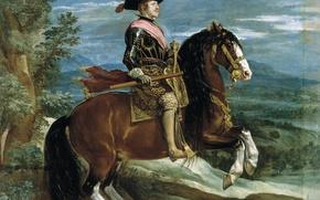 Wallpaper Diego Velazquez, picture, Equestrian Portrait of Philip IV