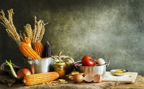 Picture Pumpkin, Eggs, Tomatoes, Still life, Corn, cuts