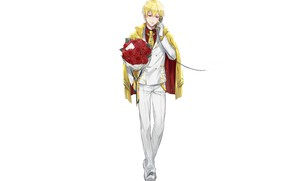 Picture anime, art, phone, guy, blonde, Gilgamesh, Fate Grand Order, The destiny of a great campaign