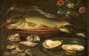 Picture flowers, tree, oil, picture, Clara Peters, Still life with Fish, Oysters and Shrimp