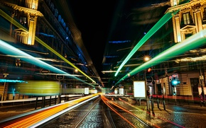 Wallpaper feel of speed, street, blur, wallpaper., home lighting, the road tram tracks, bokeh, excerpt, the ...
