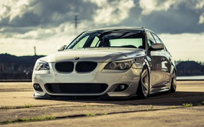 Picture Auto, White, BMW, Machine, White, Lights, 5 Series, BMW 5 Series, The front, BMW 5, …