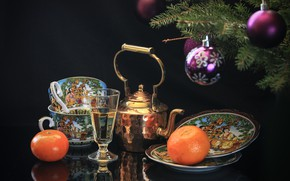 Picture branches, holiday, balls, toys, glass, new year, Christmas, kettle, Cup, black background, coniferous, bokeh, saucers, …