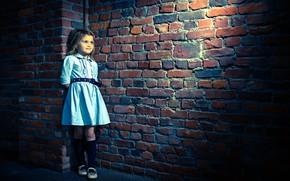 Picture wall, dress, masonry, girl, Fabienne Van Brabant, tough girl