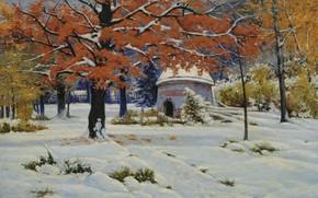 Picture landscape, oil, picture, canvas, Constantine Kryzhitsky, Early Snow
