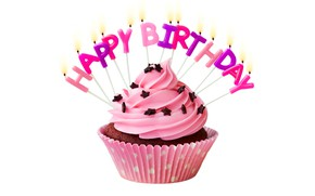 Picture candles, cake, cream, Happy Birthday, pink, cupcake, cupcake, celebration, cream, decoration, candle, Birthday