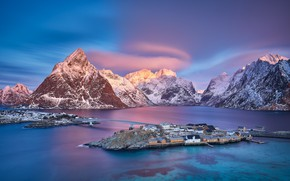 Picture light, nature, Norway, the village, The Lofoten Islands