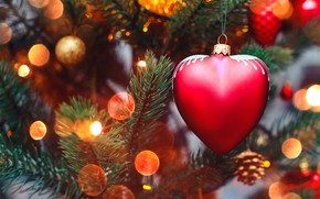Picture decoration, lights, lights, heart, tree, New Year, Christmas, garland, happy, Christmas, heart, wood, tree, bokeh, …