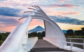 Picture bridge, the city, mountain, New Zealand, new Plymouth, Te Rewa-Rewa