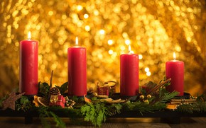 Picture glare, background, candles, Christmas, New year, composition, decoration