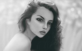 Wallpaper black and white, portrait of a girl, face, art, Oite, wesnousky, long hair, sponge, blurred ...