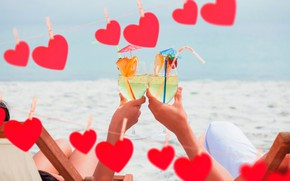 Picture sand, sea, girl, the sun, glasses, pair, hearts, red, guy, two, Valentine's day, clothespins, cocktails, …