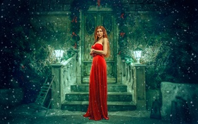 Picture snow, dress, art, in red, sled, redhead, porch