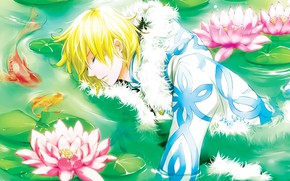 Picture water, flowers, anime, guy, Lotus, Shounen, Tsubasa reservoir Chronicle