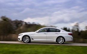 Picture road, forest, white, the sky, clouds, movement, BMW, profile, sedan, hybrid, 5, four-door, 2017, 5-series, …