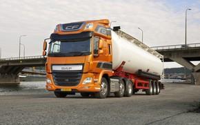 Picture orange, bridge, river, Parking, DAF, tank, tractor, DAF, the trailer, 6x2, Euro6, DAF CF 440