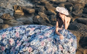 Picture girl, flowers, pose, style, stones, dress, hat, Asian