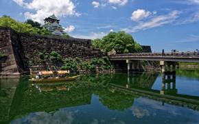 Picture bridge, river, castle, boat, Japan, Japan, rivers, bridges, Osaka, castles