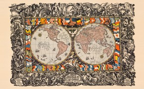 Picture map, flags, continents