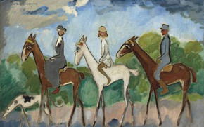 Picture oil, dog, canvas, horses, Kees van Dongen, Fauvism, Horse riding, Horseback riding