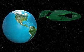 Picture space, earth, spaceship
