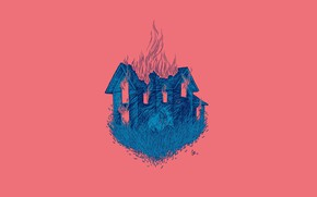 Picture face, fire, flame, witch, art, wooden house, the curse, Daria Golab