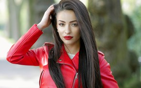 Picture look, face, model, hair, lipstick, jacket, beauty
