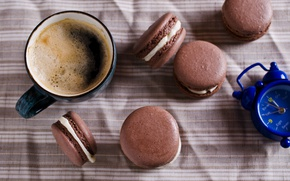 Picture coffee, cookies, Cup, cream, dessert, coffee cup, cookies, macaron, almond, macaroon