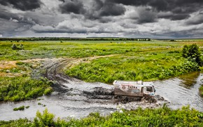 Picture Water, Nature, Field, River, Sport, Speed, Race, Dirt, Trucks, Squirt, Russia, Rally, Rally, Overcast, For, …