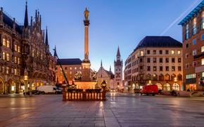Wallpaper monument, Marienplatz, Bayern, the evening, lights, Munich, area, Munich, Germany, home, Bavaria, Germany, Marienplatz