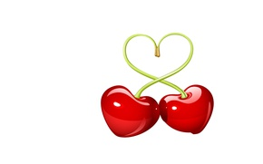 Wallpaper holiday, minimalism, art, cherry, Valentine, Valentine's day, heart