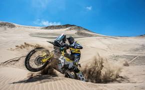 Picture Sand, Motorcycle, Moto, Rally, Dakar, Dakar, Rally, Dune, Husqvarna, Husqvarna Motorcycles