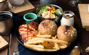 Picture food, Salad, Burger, Fries, Sauce