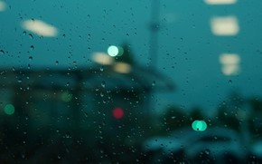 Picture glass, drops, the city, lights, rain, street, the evening, rain, blurred, water drops on window