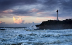 Picture sea, storm, France, lighthouse, France, Cape, The Bay of Biscay, Biarritz, Bay of Biscay, Biarritz, …