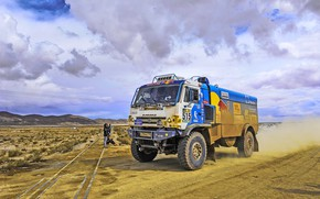 Picture Clouds, Mountains, Grass, Sport, Speed, People, Clouds, Race, Master, Dirt, Squirt, Russia, Rails, moving, Kamaz, …
