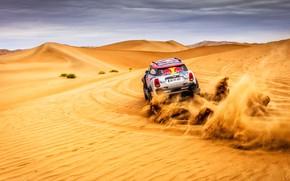 Picture Sand, Mini, Sport, Desert, Speed, Rally, SUV, Rally, 105, Dune, X-Raid Team, MINI Cooper, Silk ...