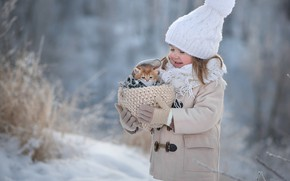 Picture winter, snow, happiness, kitty, girl