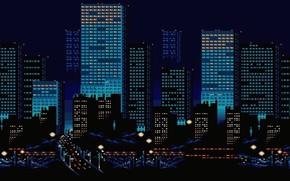 Picture Night, The city, Building, Pixels, 8bit, 8bit, 8 Bit