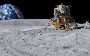 Wallpaper planet, Rover, lander, Apollo, The moon, Earth