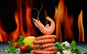 Picture greens, pepper, tomato, shrimp, seafood, salt