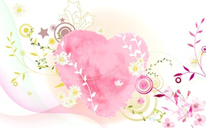 Picture collage, heart, vector, postcard, Valentine's Day